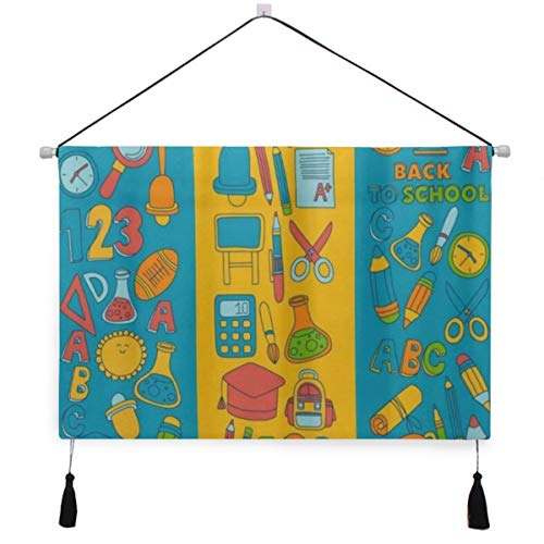 ELIENONO Cartel colgante de lona,ABC Alphabet Numbers Back To School,tapiz decorativo para...