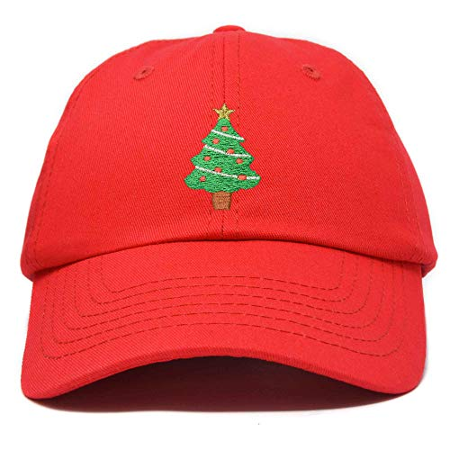 Xmas Holidays Christmas Tree Ball Cap Embroidered Hat Red