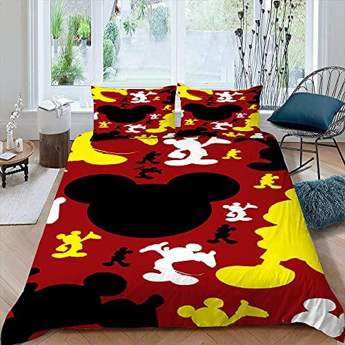 Juego de ropa de cama Mic-key M-inne 3D 1 funda de edredón con 2 fundas de almohada para niños, niñas, adolescentes, anime Charactor tamaño king