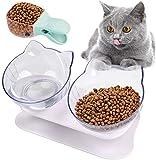 Cuenco doble para gatos con soporte elevado, comedero para mascotas, 15° inclinado antide...
