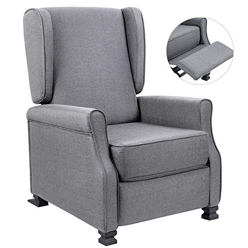 Homall Wingback Recliner Chair Modern Fabric Single Sofa Medieval Living Room Arm Chair Home Theater Seating Push Back Club Chair Reclining (Gainsboro)