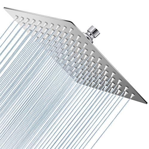 Hochdruck-Duschkopf, 20,3 cm, Regenduschkopf, ultradünn, quadratisch, Regenduschkopf für Badezimmer – einfach zu installieren und ganzer Körper bedeckt (Chrom)