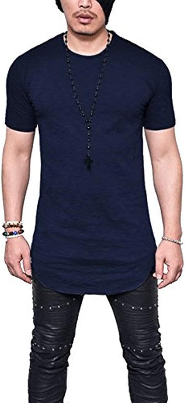 LIWEIKE Mens Solid Extended Hipster Hip Hop Swag Curve Hem Short Sleeve T Shirt