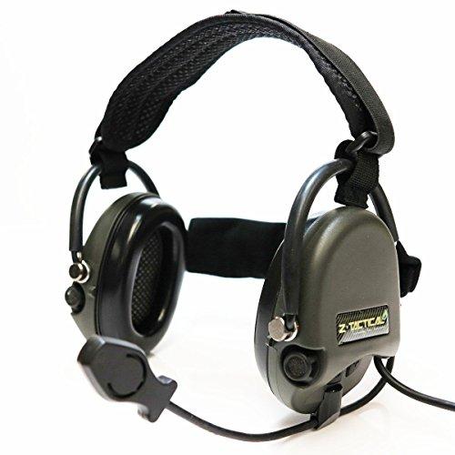 AEG Airsoft Wargame Gear Z Tactical TCI Liberator II - Auricular con banda para el cuello, color verde y negro