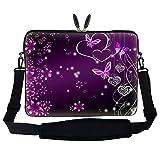 Meffort Inc 17 17.3 inch Neoprene Laptop Sleeve Bag Carrying Case with Hidden Handle and Adjustable Shoulder Strap - Purple Butterfly Heart Design