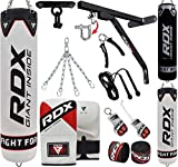 RDX Punch Bag for Boxing Training, Filled Heavy Bag Set with Punching Gloves, Chain, Wall Bracket, Great for Grappling, MMA, Kickboxing, Muay Thai, Karate, BJJ & Taekwondo, 14 pcs Comes in 5FT/4FT