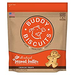HEALTHY DOG TREATS – Wholesome, oven baked dog biscuits that keep things naturaly simple with natural peanut butter JUST 4 INGREDIENTS – Buddy Biscuits dog treats are made with simple ingredients. No added corn, soy, yeast, sugar, salt, fillers, arti...