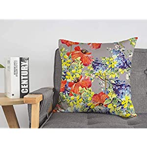 Decorative Linen Square Throw Pillow Cover Colorful Red Poppies Silk Summer Template Blue Flowers Blooming Seamless Bouquet Abstract Textures Modern Design Cushion Case for Car Bed 18 x 18 Inch