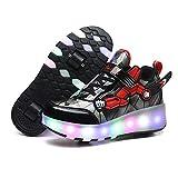 Zapatos con Ruedas Zapatillas con Dos Ruedas para niños y niña 7 Colores cambiantes con Luces LED para Patines Ajustables, Patines en línea con Ruedas