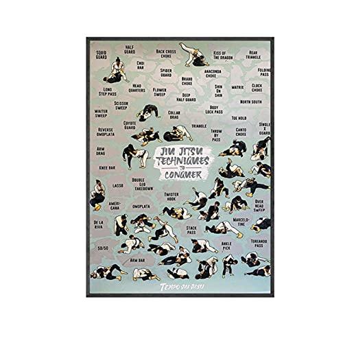 YQQICC Jiu-Jitsu Techniques Fight Martial Poster Prints Arte de la pared Pintura de la lona Cuadros abstractos para la decoración de la sala de estar-50x70cm Sin Marco