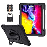 iPad Pro 11 Case 2020 & 2018 with Apple Pencil Holder, Military Grade 15ft Drop Tested Heavy Duty Silicone Protective Cover for iPad Pro 11 Inch 2nd Generation + Stand + Handle Hand & Shoulder Strap