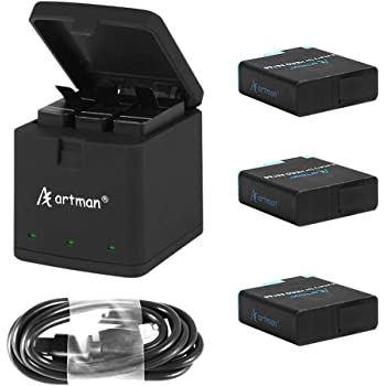 Artman Hero 8/7/6 1500mAh Replacement Batteries(3-Pack) and 3-Channel LED USB Storage Charger Compatible with Hero 8 Black,Hero 7 Black,Hero 6 Black(Fully Compatible with Original)
