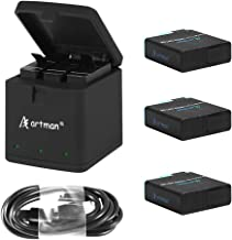 Artman Hero 8/7/6 1500mAh Replacement Batteries(3-Pack) and 3-Channel LED USB Storage Charger Compatible with GoPro Hero 8 Black,GoPro Hero 7 Black,Hero 6 Black(Fully Compatible with Original)