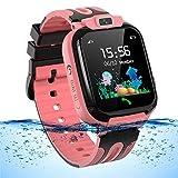 Smartwatch Kinder Wasserdicht Kids Smart Watches Phone KinderUhr für Jungen Mädchen Smartwatch mit LBS Tracker Voice Chat, Rose