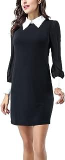 Women Peter pan Collar Long Sleeve Party Work Pencil Casual T-Shirt Dress