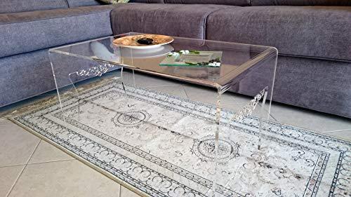 Astroplastic Tavolino Comodino Soggiorno Salotto in plexiglass PMMA Trasparente Design Unico Particolare - Misura cm H36 x L68 x P40 - Spessore 8mm