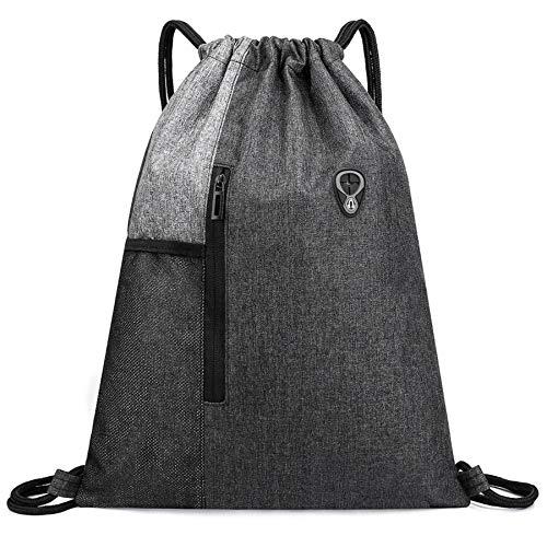 Ruberg - Bolsa de deporte resistente al agua para hombre y mujer, con cremallera, bolsillo interior, bolsillo exterior, bolsa de gimnasio, mochila hipster, forrada para niños, color gris