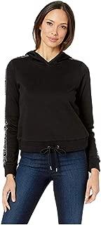 Michael Michael Kors Logo Tape Sleeve Hoodie (Black) Women's Sweatshirt XS