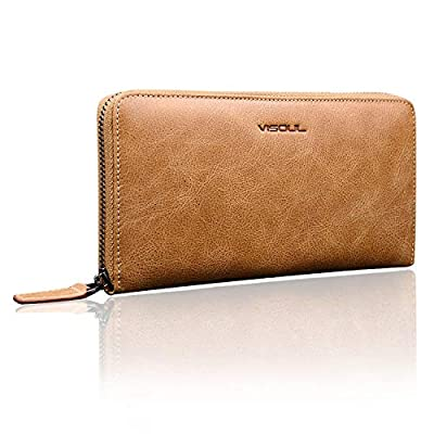 Mens Long Zip Around Wallets VISOUL Genuine Leather Long Organizer Clutch with 3 Cash Compartments