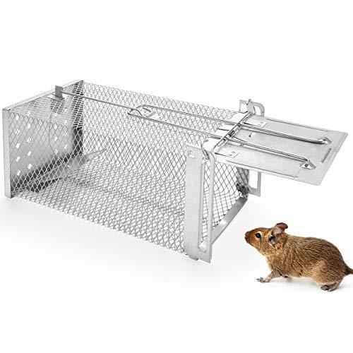 Qomolo Lebendfalle Mausefalle, Mausefalle Lebend Premium Rattenfalle Tierfalle Tierfreundlich Wiederverwendbare Metallisch für Garten & Haus, ua Hamster