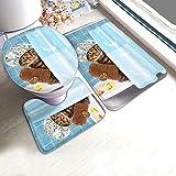 RedBeans Rutschfeste Badematte, 3-teiliges Flanell-Badezimmerteppich-Set, lustige Katze mit Handtuch, Ente, Spielzeug in Badewanne, weicher WC-Vorleger