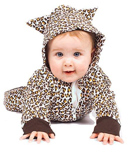 Cute bebé leopardo pijama disfraz de leopardo bebé Romer/leopardo ropa de bebé Gift- niños o niñas por bebé Moo marrón Biege, Brown Talla:3-6 meses