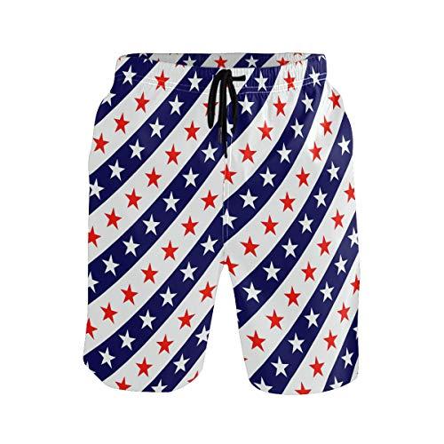 BONIPE Herren Badehose USA Flagge Blau Weiß Rot Sterne Streifen Quick Dry Boardshorts mit Kordelzug und Taschen Gr. Verschiedene Größen, mehrfarbig