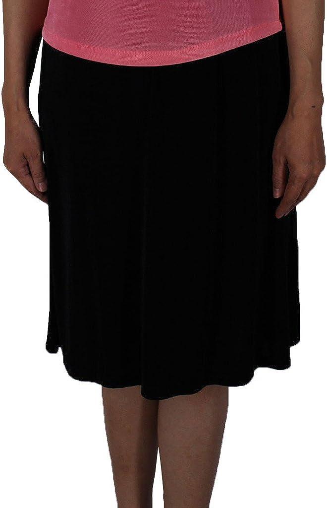 Calison Women's Stretch Knit Spandex Slinky Short Skirt Made in USA Black
