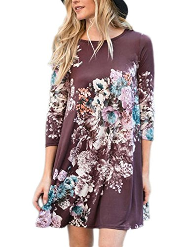 AlvaQ Women Casual Dresses for Juniors Maternity Fall Ladies Cotton Floral Midi Tshirt Dress Purple