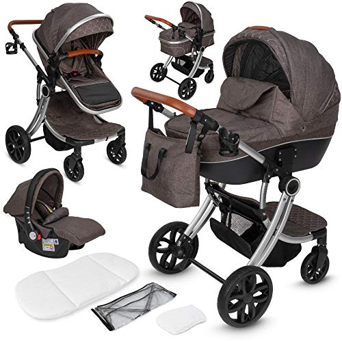 ib style® OLINA 3 in 1 Kinderwagen | Kombikinderwagen | inkl. Babyschale/Autositz | separater Buggy Aufsatz | ! Inkl. Matratze ! | 0-15kg | Taupe