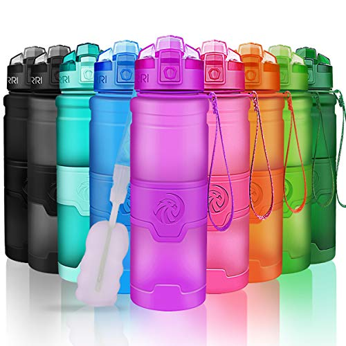 ZORRI Sport Water Bottle for Kids, 500ml/700ml/1000ml - Bpa Free Eco-Friendly Tritan Plastic, Reusable Drinks Water Bottles with Filter, Leak Proof Flip Top, Open with 1-Click - for Gym, Yoga, Running