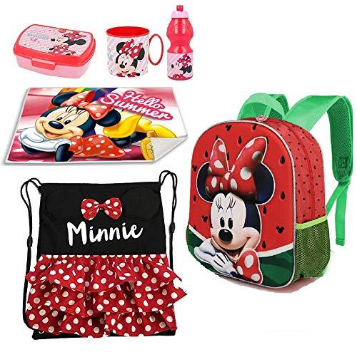 Minnie Disney Rosso Pois Zainetto Zaino, Sacca Sport, Porta Merenda Scuola Asilo Tempo Libero