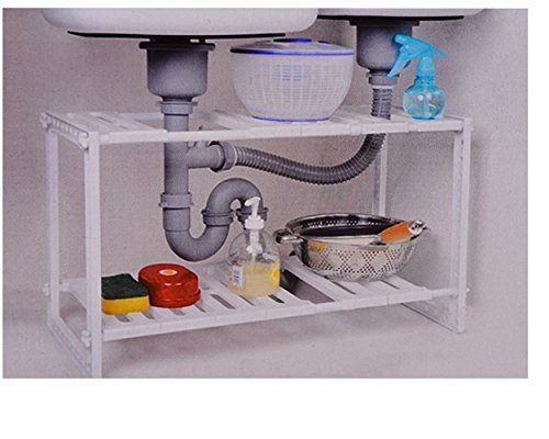 Denny International Kitchen Under Sink Rack Storage Organiser Adjustable Removable Tidy Shelf Unit