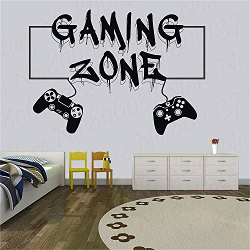 fancjj Gamer Wandtattoo Gaming Zone Eat Sleep Game Controller Videospiel Wandtattoos Customized for Kids Schlafzimmer Vinyl Wandtattoo