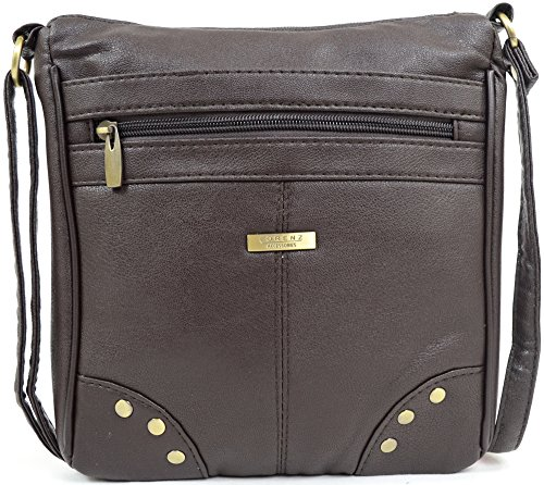 Dames/Womens Faux Lederen Cross Body Bag/Schoudertas met Stud Ontwerp