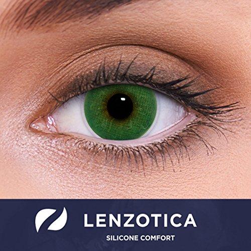 LENZOTICA Sehr stark natürlich deckende grüne Kontaktlinsen, SILICONE COMFORT farbig ATLANTIS GREEN + Behälter von LENZOTICA I 1 Paar (2 Stück) I DIA 14.00 I ohne Stärke I 0.00 Dioptrien
