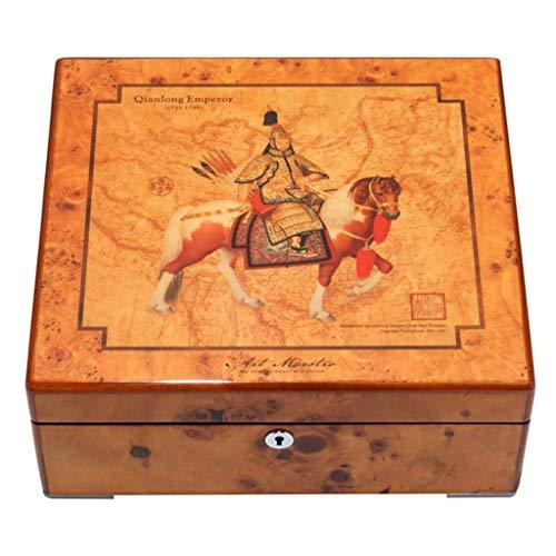 ZKORN Klassisches Aussehen Holz Schmuckschatulle 2 Schichten mit Halskette Haushalt große Kapazität Kragen Halskette Büro Aufbewahrungsbox