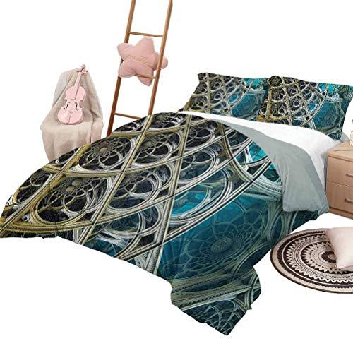 Juego de edredón de 3 piezas Ropa de cama Fractal Luxe Juego de colcha de colcha acolchada extragrande de 3 piezas Juego de edredón Arabesque Vintage Motivos inspirados en diseño floral Figura de dime