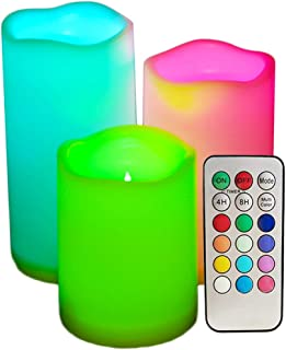 SWEETIME Led Flickering Flameless Candles with Remote Control - Colored Battery Operated Candles with Timer, Set of 3 Outd...