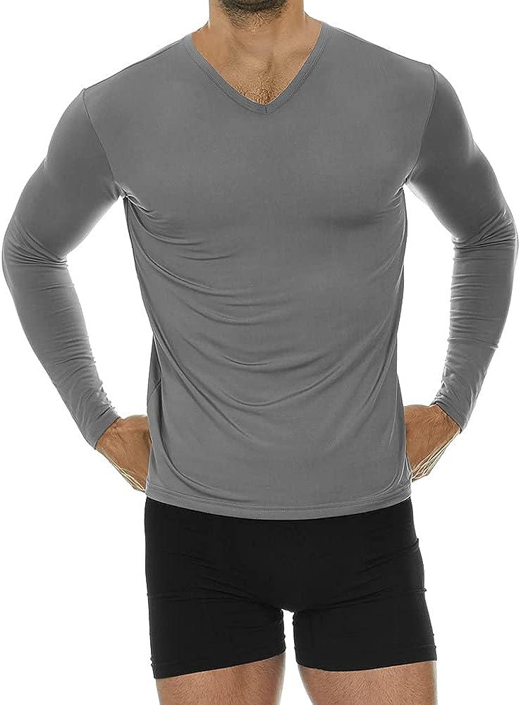 Thermajohn Mens Ultra Soft V-Neck Thermal Underwear Shirt - Fleece Lined Long Sleeve Underwear Long Johns T Shirt