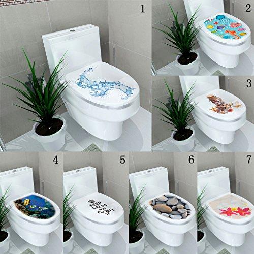 Etiquetas de Pared Inodoro Arte de Vinilo Papel Pintado Floral Calcomanías de Baño Decoración - 1