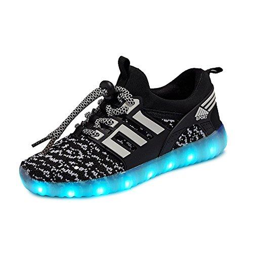 LED Zapatillas de 7 Colores de Luces con USB de Carga Transpirables para los Niños y los Adolescentes(Negro 37 EU)
