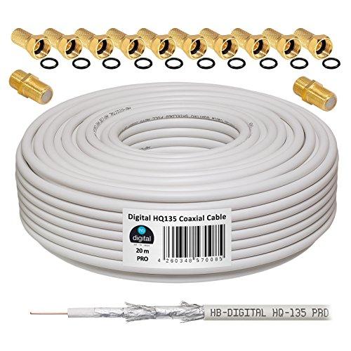 130dB 20m Koaxial SAT Kabel HQ-135 PRO 4-Fach geschirmt für DVB-S / S2 DVB-C und DVB-T BK Anlagen + 10x vergoldete F-Stecker UND 2X F-Verbinder Gratis dazu