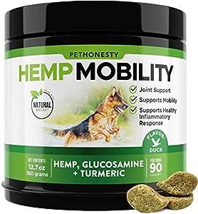 PetHonesty Hemp Hip & Joint Supplement for Dogs - Hemp Oil & Hemp Powder - Glucosamine Chondroitin for Dogs Turmeric, MSM, Green Lipped Mussel, Dog Treats Improve Mobility, Reduces Discomfort - Duck