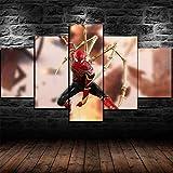Gracelove Lot de 5 toiles murales modernes en 5 parties avec araignée de fer, film de science-fiction, super héros, décoration murale pour chambre d'enfant 200 x 100 cm