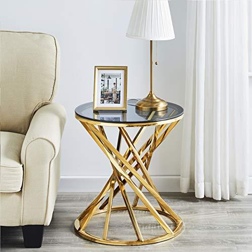 JYMTOM Beistelltisch Gold Runder Glas Couchtisch Sofatisch Edelstahl Kaffeetisch Schreibtischmöbel Hellgrauer Teetisch aus gehärtetem Glas für Wohnzimmer Schlafzimmer, 50 cm rund Gold