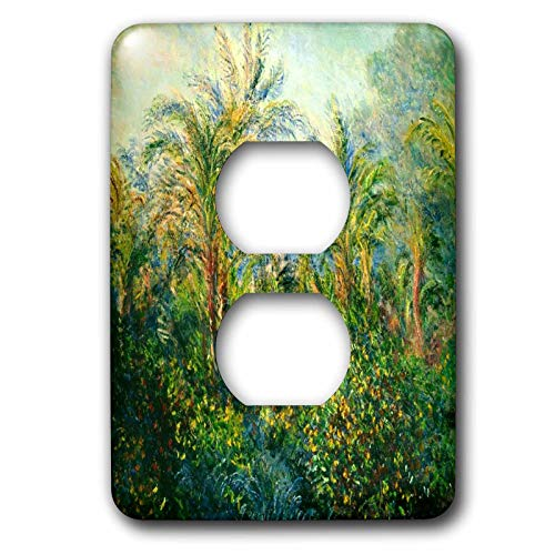 Duplex Receptacle Outlet Wallplate 1 Gang Outlet Covers Print Of Monet Painting Garden In Bordghea Classic Beadboard Wall Plate Decorator Unbreakable Faceplate