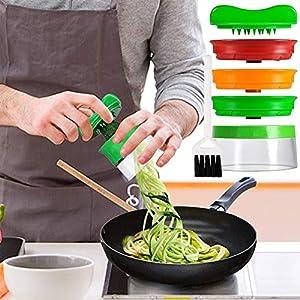 Cortador de Verduras,JTENG Cortador en Espiral Rallador de Verduras Mano con 3 Cuchillas para, Adecuado Zanahoria/Pepino/Papa/Calabaza/Calabacín (+ Cepillo de Limpieza)