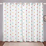 Feelyou Kids Room Darkening Curtain Colorful Polka Dot Blackout Curtain for Bedroom Luxury Hypoallergenic Child Boys Girls Thermal Curtain Lightweight Microfiber Blackout Drapes,52 X 96 Inch,2 Panels
