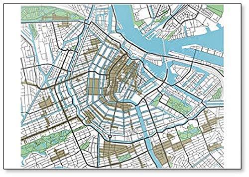 Amsterdam City Map - Classic Koelkast Magneet
